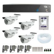 Kit de Câmeras de Segurança - DVR TVZ Security 4 Ch AHD M + 4 Câmeras Bullet Infravermelho 1000 Linhas Tudo Forte 2,8mm IP66 + HD WD Purple + Acessórios