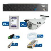 Kit de Câmeras de Segurança - DVR TVZ Security 8 Ch AHD M + 6 Câmeras Bullet Infravermelho 1000 Linhas Tudo Forte 2,8mm IP66 + HD WD Purple +  Acessórios