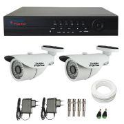 Kit de Câmeras de Segurança Tudo Forte - DVR Tudo forte 4 Ch1080p + 2  Câmeras Bullet Infravermelho 1000 Linhas Tudo Forte 2,8mm IP66 + Acessórios