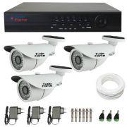 Kit de Câmeras de Segurança Tudo Forte - DVR Tudo Forte 4 Ch AHD 1080p + 3 Câmeras Bullet Infravermelho AHD M Tudo Forte HD 720p 1.0M 3,6mm 36 Leds IP 66 IR 30 metros + Acessórios
