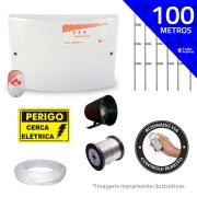 Kit de Cerca Elétrica para 100 metros Central GCP Liga/Desliga por Controle Remoto com Haste M + Acessórios