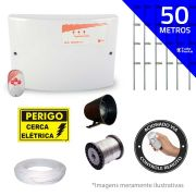 Kit de Cerca Elétrica para 50 metros Central GCP Liga/Desliga por Controle Remoto com Haste M + Acessórios