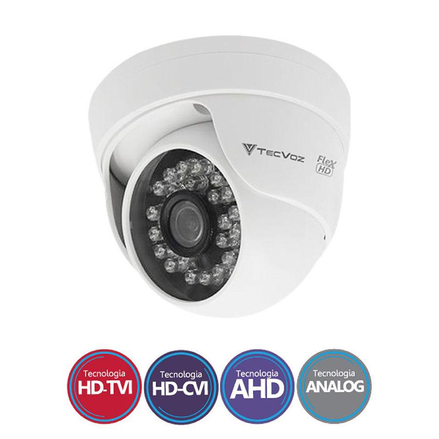 Câmera Dome Infravermelo Flex 4 em 1 Tecvoz QDM-128P HD 720p 1.0M - CVBS, AHD, HDCVI, HDTVI