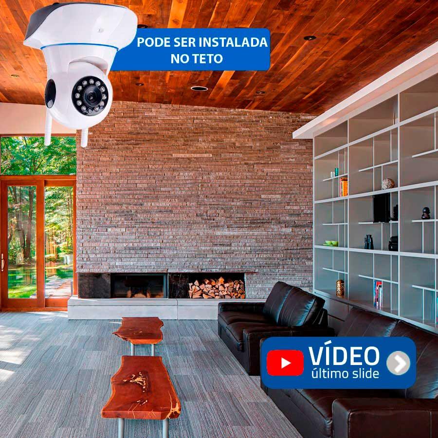 Câmera IP Sem Fio Wifi HD 720p Robo Wireless, Com áudio, Grava em Cartão SD, com 2 Antenas e Visão Noturna