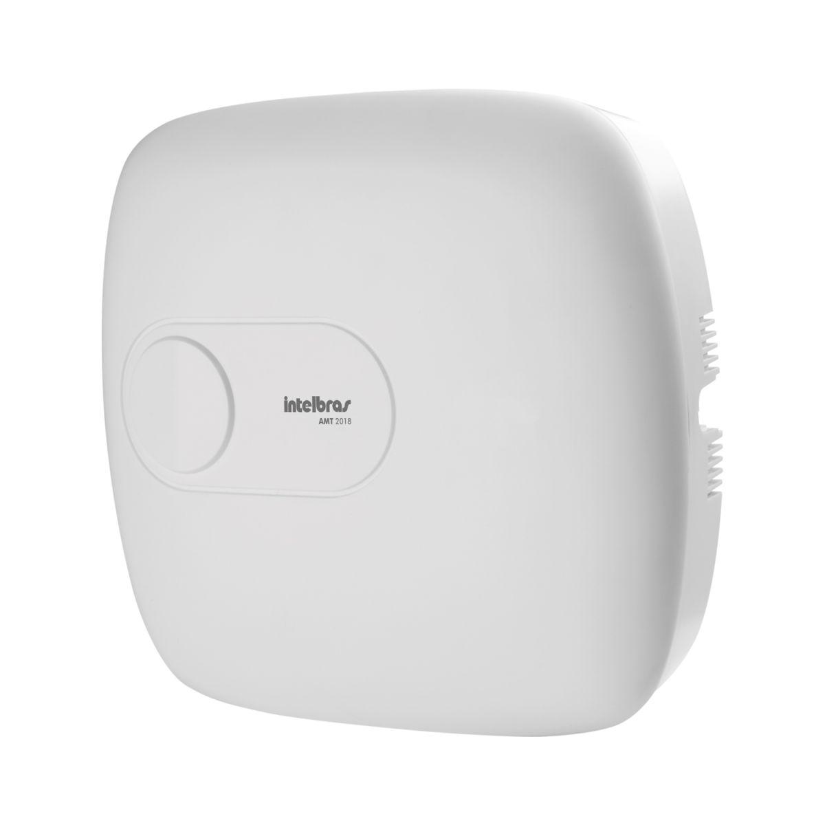 Central de Alarme Intelbras AMT 2018, Alarme monitorado com 18 zonas (8 + 8 + 2 com fio + 24 sem fio), Via linha telefônica, 2 Partições, Discadora