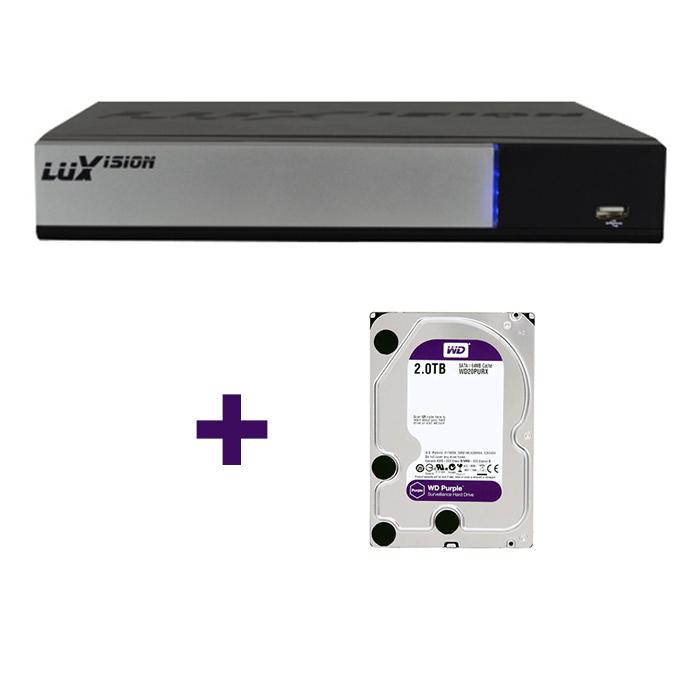 DVR Stand Alone Tríbrido AHD M Luxvision 16 Canais Smart +  HD 2TB WD Purple de CFTV