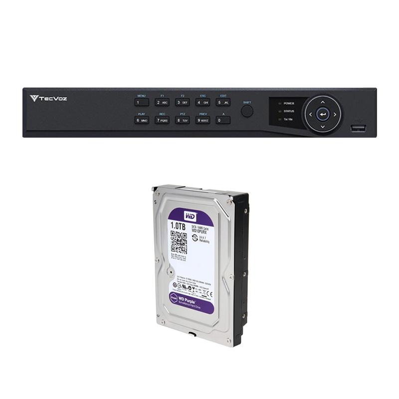 DVR Stand Alone Tríbrido HDTVI Tecvoz T1-STVI16/S 16 Canais + HD 1TB WD Purple de CFTV