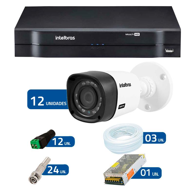 Kit CFTV 12 Câmeras Infra 720p Intelbras VHD 3120B G3 + DVR Intelbras Multi HD + Acessórios