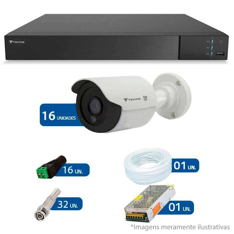 Kit CFTV 16 Câmeras Infra HD 720p QCB-128P + DVR Flex Tecvoz + Acessórios