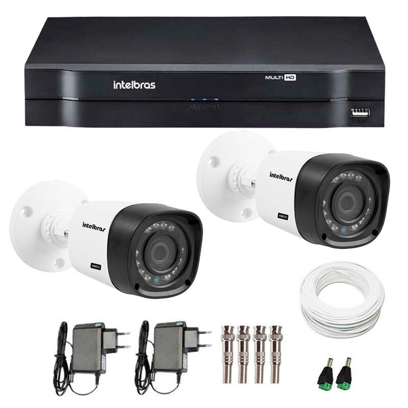 Kit CFTV 2 Câmeras Infra 720p Intelbras VHD 1120B G3 + DVR Intelbras Multi HD + Acessórios