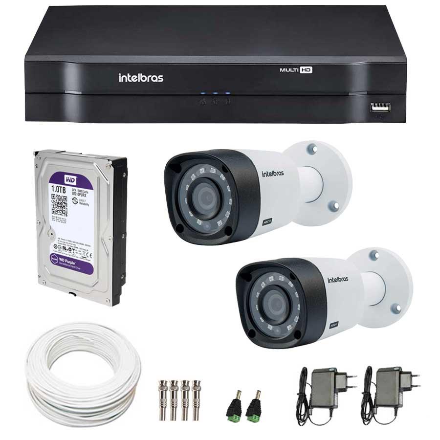 Kit 2 Câmeras de Segurança de Segurança HD 720p Intelbras VHD 3120B G3 + DVR Intelbras Multi HD + HD WD Purple 1TB + Acessórios