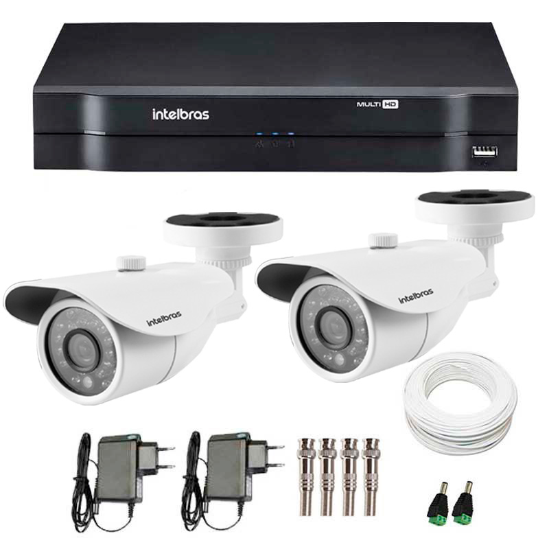 Kit 2 Câmeras de Segurança de Segurança HD 720p Intelbras VM 3120 IR G3 + DVR Intelbras Multi HD + Acessórios