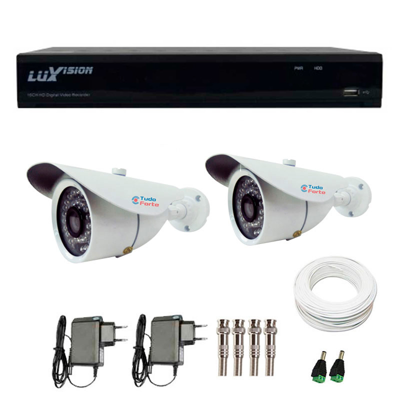 Kit CFTV 2 Câmeras Infra Tudo Forte HD 720p  + DVR Luxvision All HD 5 em 1 ECD + Acessórios