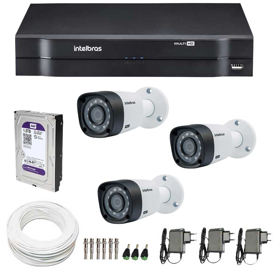 Kit 3 Câmeras de Segurança de Segurança HD 720p Intelbras VHD 3120B G3 + DVR Intelbras Multi HD + HD WD Purple 1TB + Acessórios