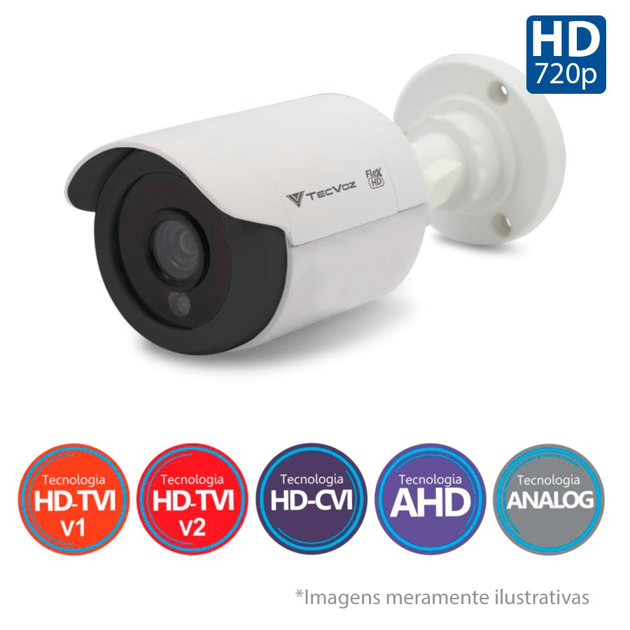Kit 3 Câmeras de Segurança Tecvoz HD 720p CCB-128P + DVR Flex Tecvoz + Acessórios