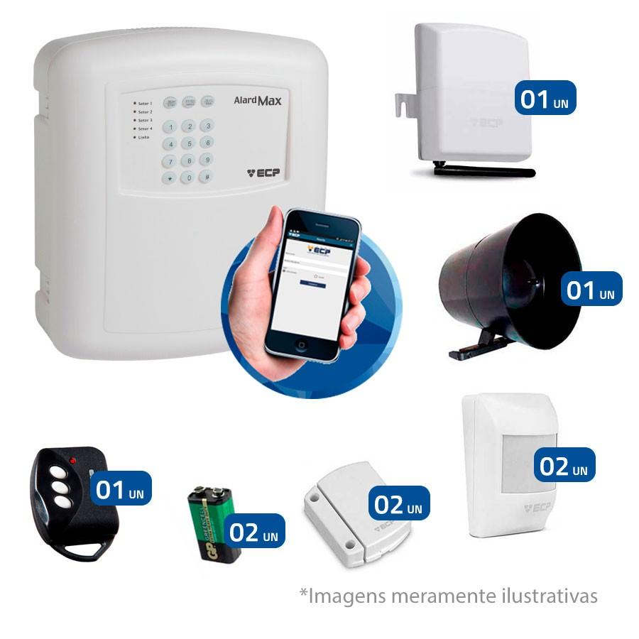 Kit de Alarme Residencial, Comercial com 04 Sensores sem fio ECP e Controle Remoto, Liga/Desliga por Celular Android