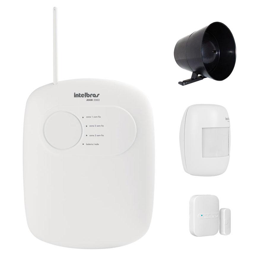 Kit de Alarme Intelbras 02 Sensores com Discadora por Telefone fixo Sem Fio