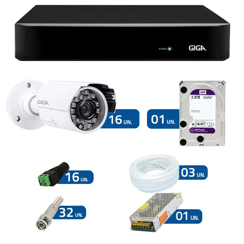 Kit CFTV 16 Câmeras Infra 720p GSHD15CTB  + DVR Giga Security AHD + HD WD Purple + Acessórios