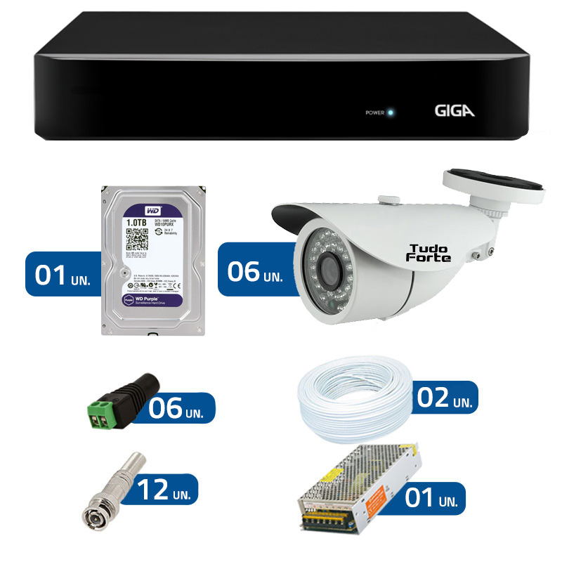 Kit CFTV 6 Câmeras Infra 720p AHD M  + DVR Giga Security AHD + HD WD Purple + Acessórios