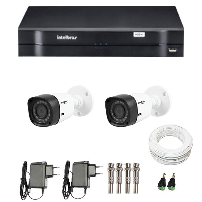 Kit 2 Câmeras de Segurança HD 720p Intelbras VHD 1010B G3 + DVR Intelbras Multi HD + Acessórios