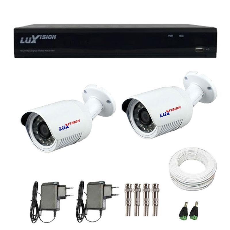 Kit CFTV 2 Câmeras Infra 720p Luxvision LVC5125B  + DVR Luxvision ECD + Acessórios