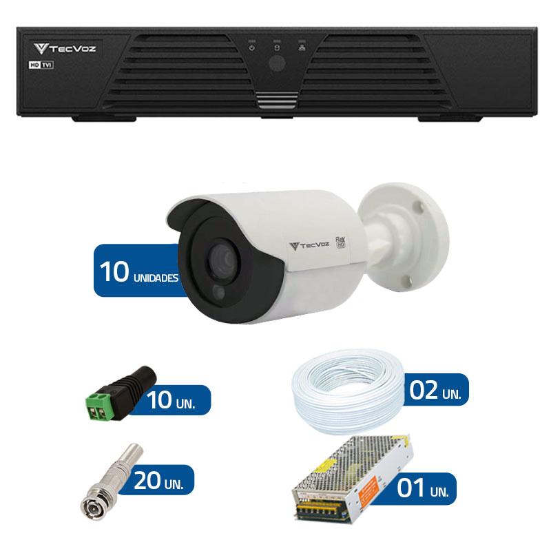 Kit CFTV 10 Câmeras Infra 720p Tecvoz Flex QCB 128P - DVR Tecvoz HDTVI + Acessórios