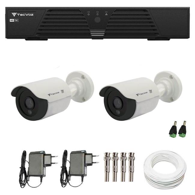 Kit CFTV 2 Câmeras Infra 720p Tecvoz Flex QCB 128P - DVR Tecvoz HDTVI + Acessórios