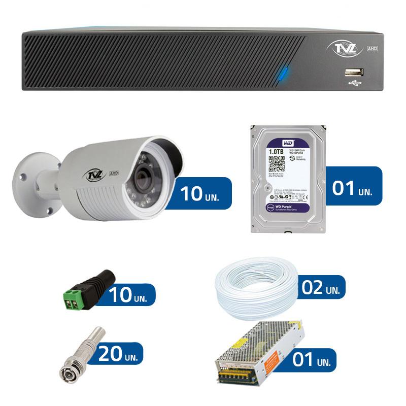 Kit de Câmeras de Segurança - DVR TVZ Security 16 Ch AHD M + 10 Câmeras Bullet AHD-BL1 TVZ Tecvoz Hibrida HD 720p lente HD 3.6mm + HD WD Purple + Acessórios