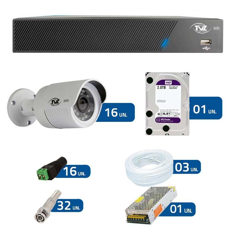 Kit de Câmeras de Segurança - DVR TVZ Security 16 Ch AHD M + 16 Câmeras Bullet AHD-BL1 TVZ Tecvoz Hibrida HD 720p lente HD 3.6mm + HD WD Purple + Acessórios