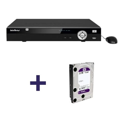 NVR, HVR Stand Alone Intelbras NVD 1008 P 8 Canais, com 4 portas PoE, para Camera IP +  HD 2TB WD Purple de CFTV