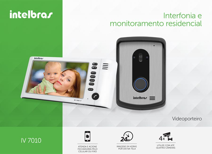 Kit Vídeo Porteiro Interfone Intelbras IV 7010 HS, Visualiza até 04 Cameras, Atende por Celular, abre 2 portões, Tela LCD 7