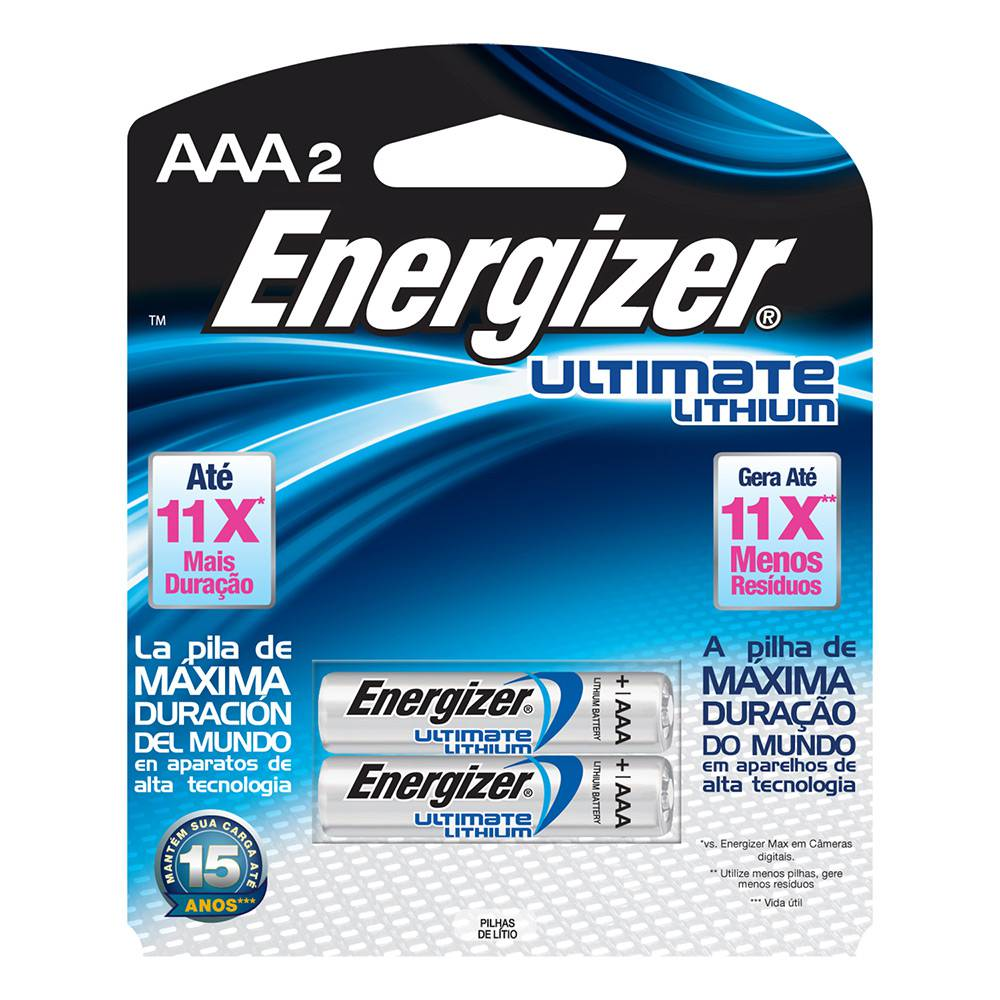 02 Pilhas Energizer Ultimate Lithium AAA - Energizer