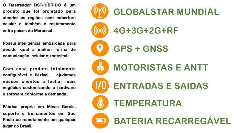 Rastreador 4G, GPS e Satelital RST-HÍBRIDO - Multiportal