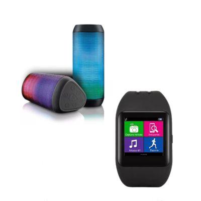 Relógio Smartwatch SW1 Bluetooth + Caixa de Som Bluetooth Led Light 15 Watts RMS P2, USB e SD - SP192