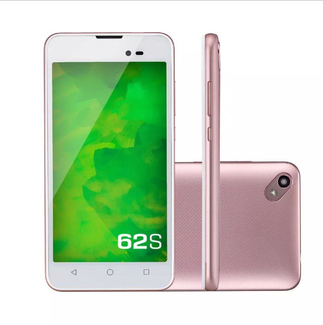 "Smartphone Mirage 62S 3g Quad Core 1GB RAM Dual Câmera 2mp+8mp Tela 5"" Dual Chip Android 7 Rosa"