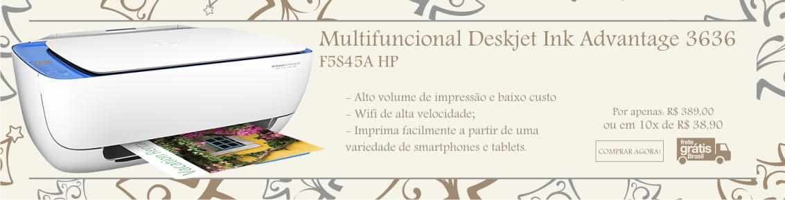 Impressora Jato de Tinta Multifuncional Deskjet Ink Advantage 3636 F5S45A HP