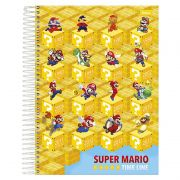 Caderno Universitário Super Mario Capa Dura 1X1 96 Fls. 33.9490-4 Foroni