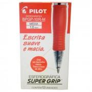 Caneta Esferográfica Vermelha Super Grip 10R CX C/ 12 Un. 141004CX012VM Pilot