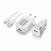 Kit com Carregadores USB para Tomada + USB Veicular com Cabo micro USB 1metro
