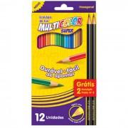 Lápis de Cor 12 Cores Super + 2 Lápis Grafite 11.1200N+2 Multicolor - PORT - Informática - Escritório - Papelaria