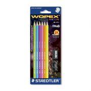 Lápis Grafite Wopex Neon Nº 2 C/ 6 Un + Borracha + Apontador 180FSBK6LC Staedtler - PORT - Informática - Escritório - Papelaria