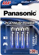 Pilha Alcalina Premium Platinum Power Palito AAA LR03XPB/6B 6 Unidades - Panasonic