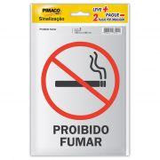 Placa de Sinalização Adesivo Pimaco 14x19cm Proib.Fumar/Perm.Fumar