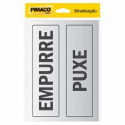Placa de Sinalização Adesivo Pimaco 6,5x20cm Empurre/Puxe