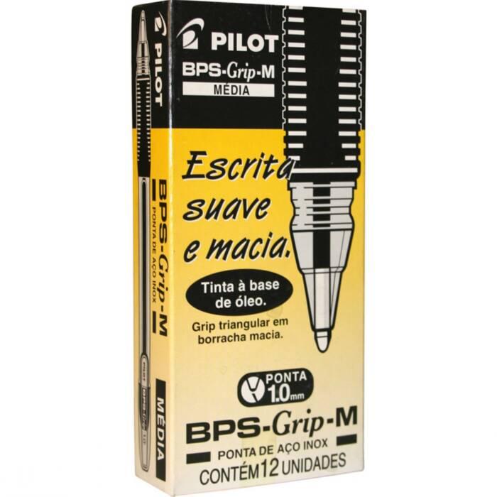 Caneta Esferográfica Preta BPS-Grip 10mm Cx C/ 12 Un. 1410003CX012PR Pilot