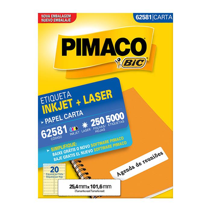 Etiqueta Pimaco InkJet + Laser - 62581