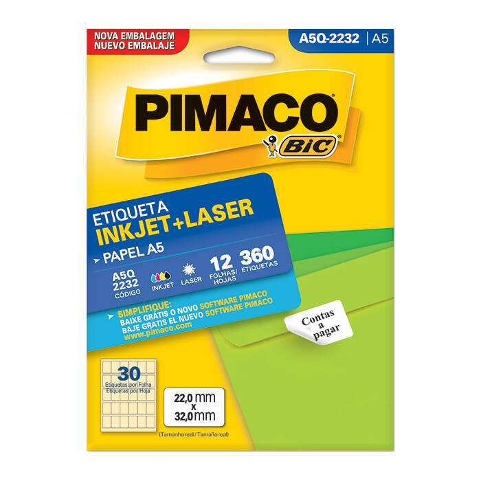 Etiqueta Pimaco InkJet + Laser - A5Q2232
