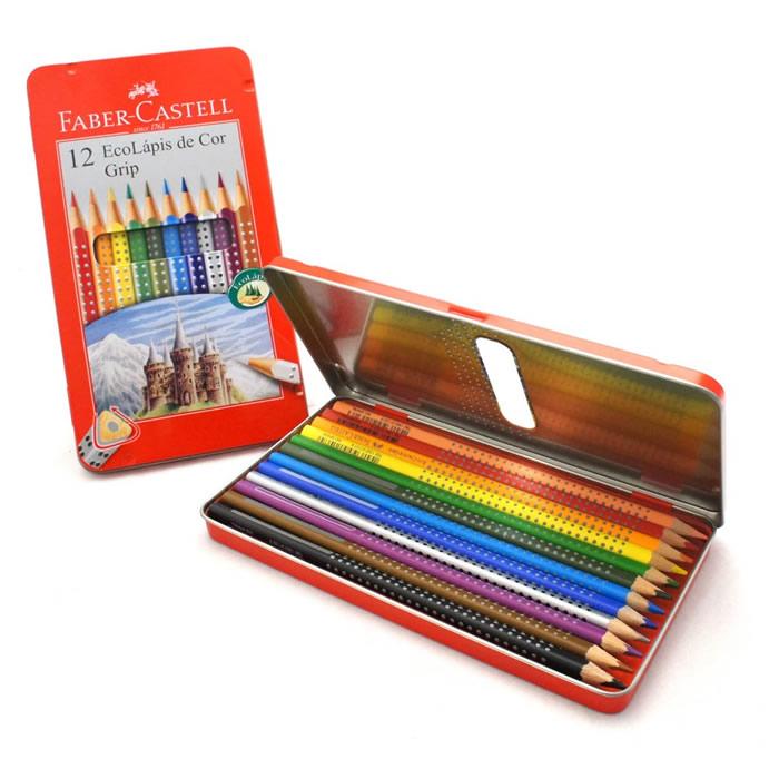 Lápis de Cor 12 Cores Grip C/ Estojo Lata 121012LT Faber-Castell