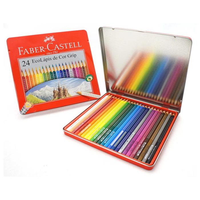 Lápis de Cor 24 Cores Grip C/ Estojo Lata 121024LT Faber-Castell