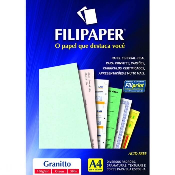 Papel Granitto Verde A4 180g 50 Fls 00965 Filipaper